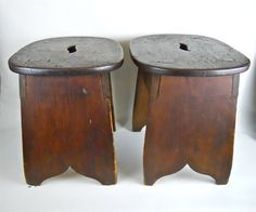 Find & Bid On Early 19th C. Milking Stools at #auction  WWW.JJAMESAUCTIONS.COM