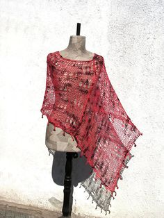 Boho Red Poncho Hand knitted Unique asymmetrical wrap by woollinen