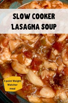 This three-point Weight Watcher Skinny Lasagna Soup is full of rich, deep earthy and cheesy flavors without all the fat. And, this soup cooks in the slow cooker all day so you can have it any time of the year without the hassle that comfort food dinners usually bring. #wwlowpointmeal #weightwatchersoup #turkeysoup #slowcookersoup