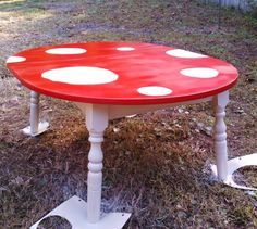Easy to do mushroom inspired table for kids play room