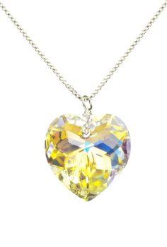 "Amazon.com: Sterling Silver Swarovski Elements Crystal Aurora Borealis Heart Pendant Necklace, 18"": Jewelry"