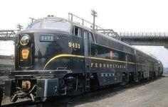 Pennsylvania Railroad FM C-Liner #9453 in Altoona, Pennsylvania on September 16, 1955.