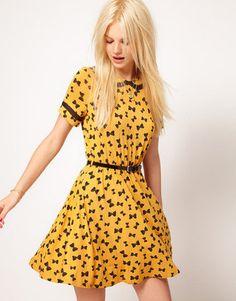 ShopStyle: ASOS Skater Dress in Bow Print