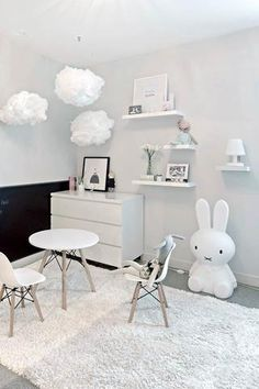 Cloud lights, battery operated night light, black and white girls room, modern nursery, boys room from lilspaces.com