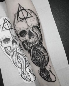 Harry Potter And The Cursed Child Jobs over Harry Potter Houses Quiz Realistic Skull Tattoo Design, Skull Tattoos, Leg Tattoos, Body Art Tattoos, Tattoos For Guys, Sleeve Tattoos, Tatoos, Sketch Tattoo Design, Arrow Tattoos