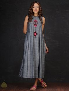Grey-Red Embroidered Inverted Box Pleated Cotton Dress by Jaypore Cotton Dress Indian, Cotton Long Dress, Cotton Dresses, Kurta Designs Women, Blouse Designs, Box Pleated Dress, Quoi Porter, Kurti Designs Party Wear, Mode Hijab