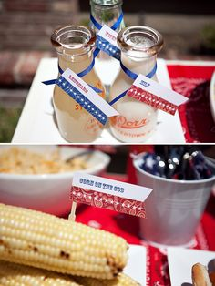 Love the idea of serving lemonade, water, iced tea in the glass jars for guests to pour