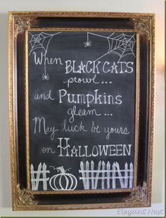 Halloween Chalkboard...or would be super cute on an invite to a halloween party!