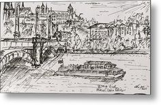 "A boat cruise on the Vltava River, Prague (Czech Republic): An ink sketch of the Vltava River printed on to a 1/16"" thick aluminium sheet to produce a high gloss effect by Kelly Goss Art. Mounted on a wooden frame and delivered ""ready to hang"". Perfect to brighten up and decorate your home. Fit for any wall in any room. The special gift to spice up a friend's home decor. For a lover of famous landmarks and Prague."