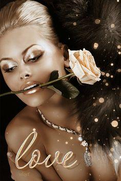 Анимация Блондинка с золотым макияжем держит прекрасную розу, (Love / любовь), гифка Блондинка с золотым макияжем держит прекрасную розу, (Love / любовь)