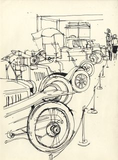 Paul Sharp - Mid 20th Century Pen and Ink Drawing, Classical Car Showroom