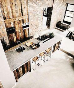 Beton en hout in de keuken