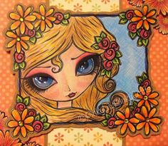 DillyBean image coloured with colouring pencils. The flowers are from LEJ Designs