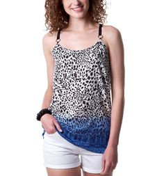 Leopard-print strappy top - Black print - Women - Tops - Promod