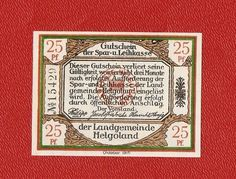 Germany Notgeld Helgoland 25 pfennig 1919 Red seal rare #5