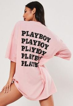 Missguided - Playboy x Missguided Pink Repeat Slogan T Shirt Dress pink jersey t shirt dress with repeat slogan print on the back and bunny logo detail on the front. Playboy, Oversized Hoodie Dress, Cropped Hoodie, Slogan T Shirt Dress, Drinks Outfits, Black Magazine, Dresses Uk, Sweater Hoodie, Brunch Outfit