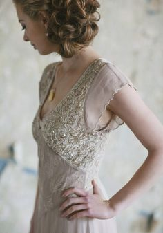 'Catherine' - Intricate champagne and mauve beading adds the perfect hint of sparkle to this dusty mulberry gown designed in delicate georgette. Perfected with cream lace details, scalloped hems, and a soft beige cotton slip.