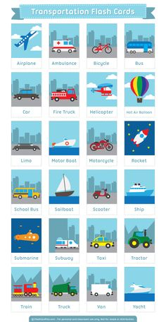 Free Printable Transportation Flash Cards