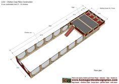 home garden plans: L102 - Chicken Coop Plans Construction - Chicken Coop Design - How To Build A Chicken Coop Building A Chicken Run, Walk In Chicken Coop, Easy Chicken Coop, Diy Chicken Coop Plans, Chicken Coop Designs, Chicken Runs, Tropical House Design, Raising Chickens, Garden Planning