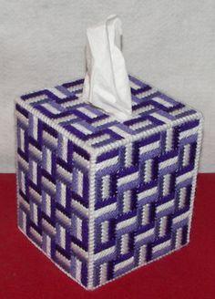 Shades of   purple Plastic canvas tissue box cover