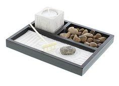 Relax Tabletop Zen Sand Rocks Candle Holder Rake Garden Kit Holders Home #GiftsDecor