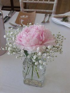 Centerpieces: Simple tube with peony rose and gypso .- Mittelstücke: Einfaches Gefäß mit Pfingstrosenrose und Gypsophilie – Centerpieces: Simple vessel with peony rose and gypsophilia – # Centerpieces - Peonies Centerpiece, Floral Centerpieces, Floral Arrangements, Flower Arrangement, Simple Bridal Shower, Bridal Shower Rustic, Wedding Table, Diy Wedding, Wedding Simple