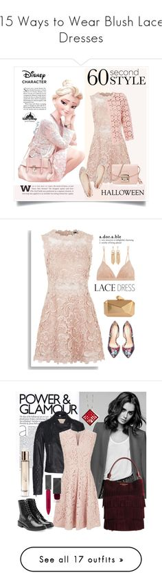 """15 Ways to Wear Blush Lace Dresses"" by polyvore-editorial ❤ liked on Polyvore featuring lacedress, waystowear, Disney, Topshop, Betty Barclay, Furla, Versace, women's clothing, women's fashion and women"
