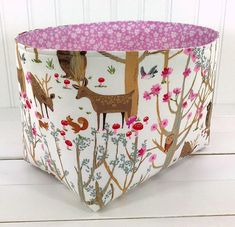 Organizer Fabric Basket,Bin,Woodland Nursery Decor,Storage Bin,Bucks,Stag,Home Decor,Deer,Bears,Woodland Forest,Flowers,Trees,Pink
