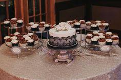 Gorgeous cake table. Black and white lace cake   Kadie & Lane // Hastings Lake Gardens Wedding // Sherwood Park & Edmonton Photographer » Kristilee Parish Photography Blog