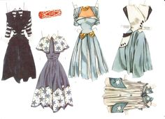 """From """"Assorted Paperdolls - Kathy - Picasa Web Albums"""" Diy Paper, Paper Art, Paper Crafts, Paper Clothes, Doll Clothes, History Of Paper, Origami Shirt, Diy Upcycling, Paper Dolls Printable"""