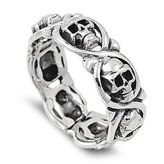 925 Sterling Silver Ring – Skulls – Face Hight: 8 mm (0.34 inch) #skulls #skulljewelry more at http://skullclothing.net