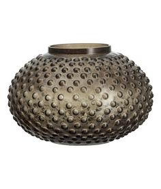 For wall unit. Large Textured Glass Vase   Charcoal gray   Home   H&M US