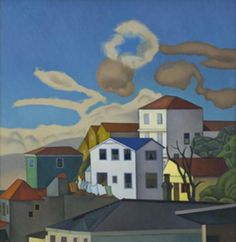 View from Tinakori Road, Rita Angus New Zealand Houses, New Zealand Art, Hastings New Zealand, Thinking In Pictures, Nz Art, Maori Art, Creative Thinking, Art School, Folk Art