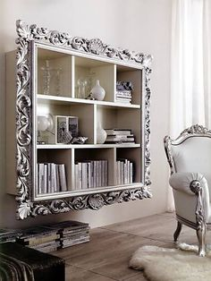 "Frame a ""hanging"" book case/display to take boring to bling! <~~COULD BE AWESOME IDEA to add to the CLOSET-org system-wood-DIVIDERS~ to help JAZZ it up an be the thing its really missing and needs! :) LOOVE this idea!"
