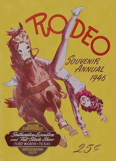 """From Cowboys and Images: Ft. Worth Rodeo 1946 """"Sixty years ago, trick riding was still a very popular rodeo event – and in some parts, the women competed head-to-head with the men."""""""