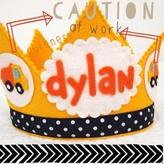 Construction Birthday Boy Party Hat - Dump Truck Birthday Crown - Toddler Boy Birthday Party - Smash Cake Prop for Boys - Personalized Crown by mosey on Etsy https://www.etsy.com/listing/117371738/construction-birthday-boy-party-hat-dump
