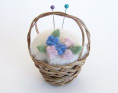 ༺༺༺♥Elles♥Heart♥Loves♥༺༺༺ .............♥Pincushions♥............. #Pincushion #Pin #Cushion #Design #Sewing #Notions #Needle #Handmade #Vintage #Craft #Tutorial #Pattern ~ ♥Wool Flower Pincushion, Pink and Blue Flowers, all Natural Wicker Basket Pin Cushion