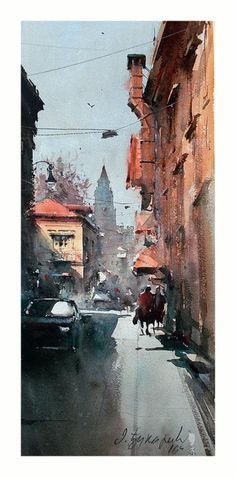 Dusan Djukaric View on Gardos, watercolor, 24x54 cm