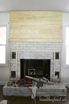 How to build a Fireplace Surround – Beneath My Heart – Farmhouse Fireplace Mantels Fireplace Surround Diy, Diy Fireplace Mantel, Build A Fireplace, Fireplace Bookshelves, Brick Fireplace Makeover, Concrete Fireplace, Farmhouse Fireplace, Fireplace Remodel, Fireplace Surrounds