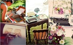 have guests type a message using a vintage typewriter instead of using a guest book. Camp Wedding, Italy Wedding, Wedding Bells, Getting Married Abroad, Getting Married In Italy, Old Fashioned Wedding, Event Planning Business, Wedding In The Woods, Here Comes The Bride
