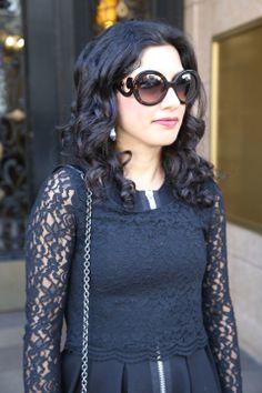 prada sunglasses, lace, zipper via beauty and sass. Fayence Style, love it!