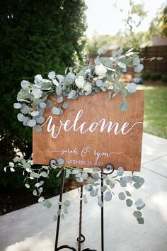Wedding signs Wedding welcome sign Wedding sign Wooden wedding . - Wedding Signs Wedding Welcome Sign Wedding Sign Wooden Wedding Signs - Wooden Wedding Signs, Wedding Welcome Signs, Wooden Signs, Wooden Diy, Welcome Party, Outdoor Wedding Tables, Outdoor Wedding Flowers, Wedding Greenery, Indoor Wedding