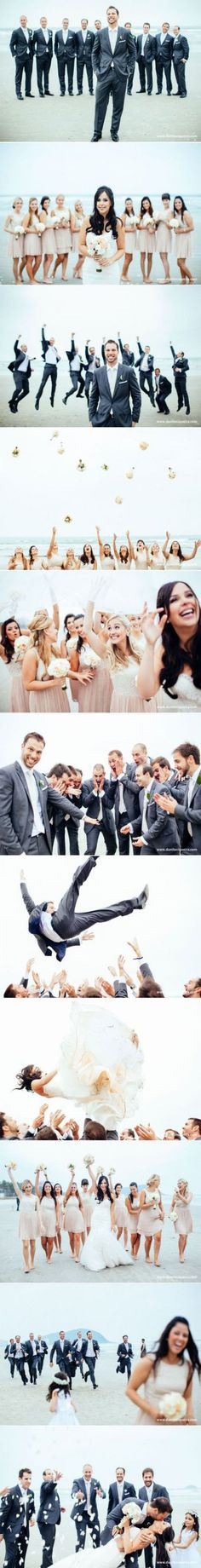 Wedding photography poses bridal party groomsmen group shots new ideas Wedding Pictures Beach, Wedding Picture Poses, Wedding Photography Poses, Wedding Poses, Wedding Beach, Party Pictures, Photography Styles, Photographer Wedding, Portrait Photography