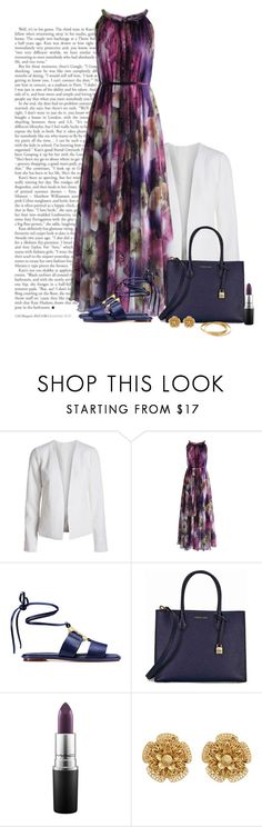 """""""Love and caring equals happiness"""" by yonnama ❤ liked on Polyvore featuring Chicwish, Tory Burch, Michael Kors, MAC Cosmetics, Miriam Haskell and Cartier"""