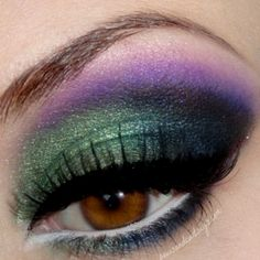 Make up for brown eyes for Mardi Gras!!....I actually wear my eye makeup like this year round. Love!