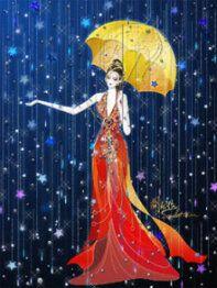Yellow umbrella, red dress, rain