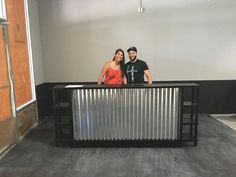 The Salon - corrugated metal sales counter or reception desk w/ display shelves