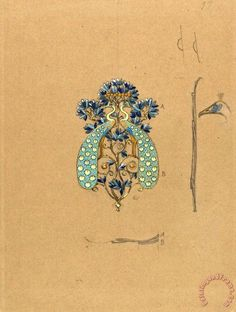 Design for a Belt Buckle with Peacock Motif Painting by Eugene Samuel Grasset
