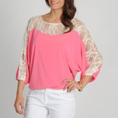 @Overstock - Annalee   Hope Women's Pink Lace Panel Dolman Sleeve Top - The relaxed fit of this dolman sleeve top from Annalee   Hope is totally chic. Lace paneling on the shoulders and sleeves create a feminine effect to this gorgeous top.    http://www.overstock.com/Clothing-Shoes/Annalee-Hope-Womens-Pink-Lace-Panel-Dolman-Sleeve-Top/7879453/product.html?CID=214117  $32.99