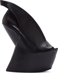 Iris van Herpen Black Leather Sculptural United Nude Edition Wedge Heel